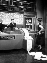 Early IT disasters: Katherine Hepburn is (elegantly) dismayed by Spencer Tracy's computer innovations in the 1957 film Desk Set.