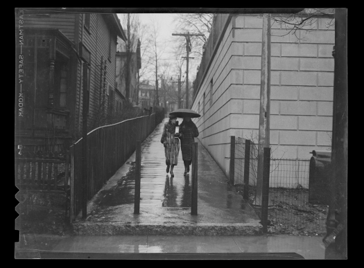 """Alleys; Pedestrians; Umbrellas; Boston (Mass.)"" from the BPL's great Flickr stream. (Courtesy of the Boston Public Library, Leslie Jones Collection.)"