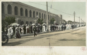 Harvard Class Day, 1906. The visitors are strolling down North Harvard Street to enter the stadium. The B-School didn't even exist until 1908.