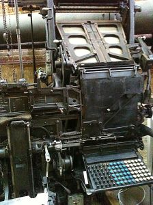 A Linotype machine at the Charles River Museum of Industry in Waltham, MA.