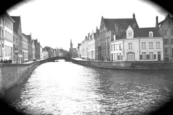 "Fake ""vintaged"" photo that I took--given that Bruges has had a century of being sold as a 'vintage' tourist spot, seemed appropriate to Photoshop it, the whole city is sort of Photoshopped."