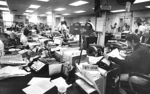 Human-based Content Creation & Management, once upon a time. The Denver Post newsroom in the 1970s.