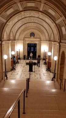 And in comparison with the entry way to the new building, here's the basilica-like front hall from the McKim. (The requisite lions are out of the shot, but rest assured they are on either side of you as you walk down the stairs.)