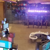 Front entrance, obligatory touchscreens, sort of shopping mall/casino feel.