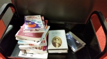 Still some books around! A cart near the Foreign language stacks, with Rimbaud in French a good sign.